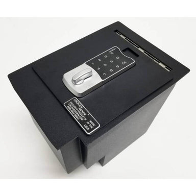 Locker Down LD2048EX vehicle console safe for Toyota 4Runner 2010-2019 viewed from the top cover with lock on it.