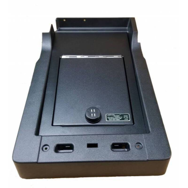 Locker Down LD2055 vehicle console safe for Ford F-150, F-250, F-350, F450 2017-2020 viewed from the top cover vertically.
