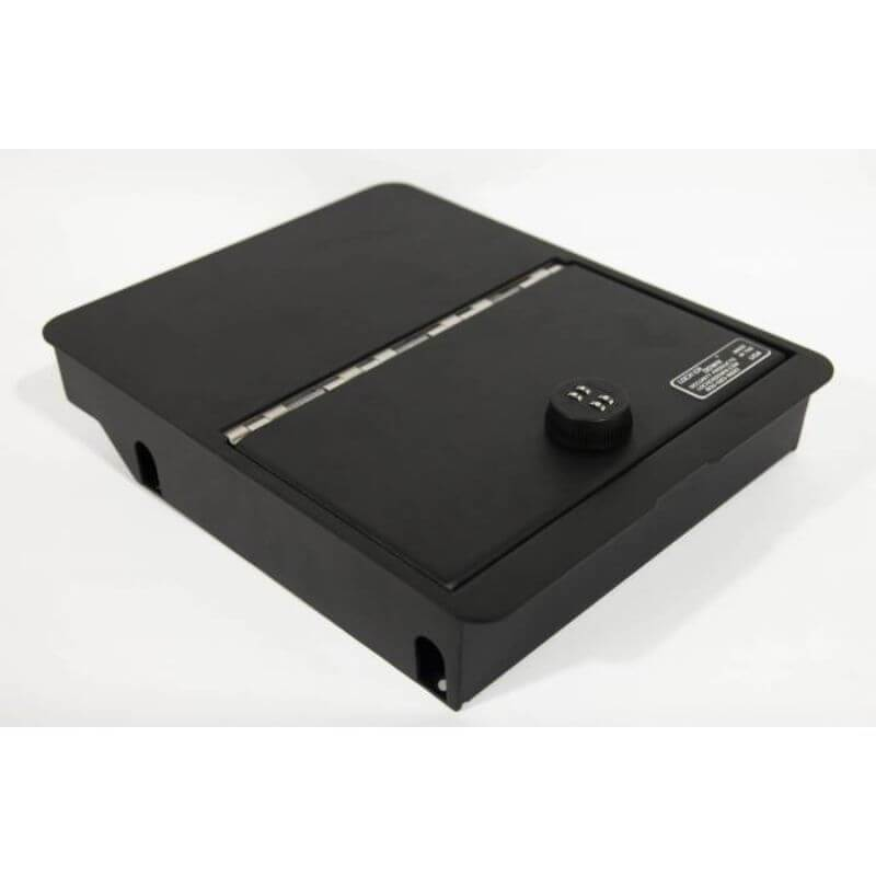 Locker Down LD2058 vehicle console safe for Dodge Ram F-1500, F-2500, F3500, F4500 2006-2019 viewed from the top cover.