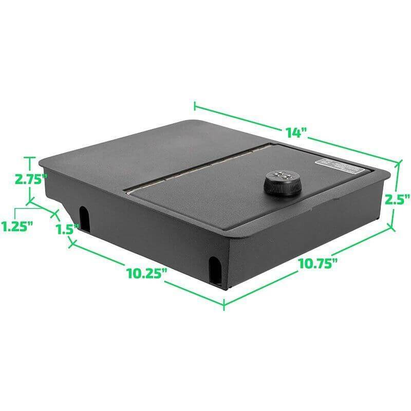 Locker Down LD2058 vehicle console safe for Dodge Ram F-1500, F-2500, F3500, F4500 2006-2019 viewed from the top cover with it's dimension.