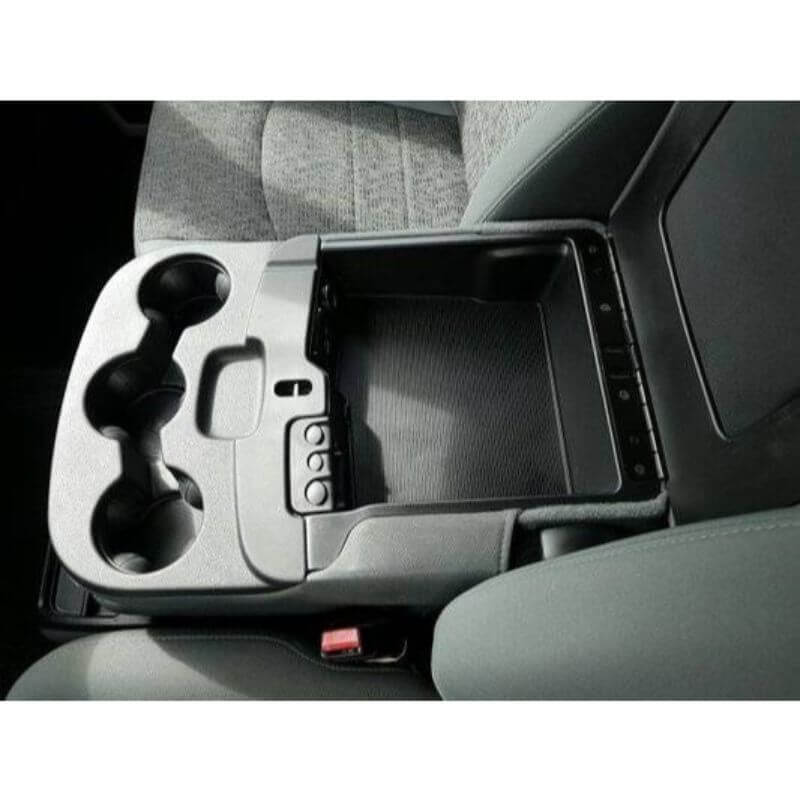 Locker Down LD2059 vehicle console safe for Dodge Ram F-1500, F-2500, F3500, F4500 20012-2019 viewed inside the center console open lid.