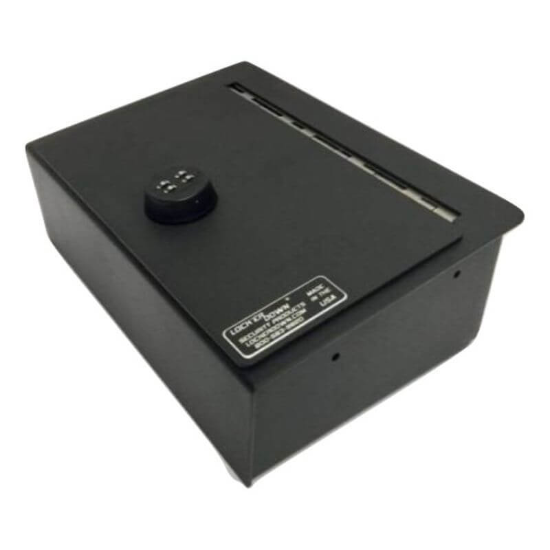 Locker Down LD2059EX vehicle console safe for Dodge Ram F-1500, F-2500, F3500, Trade  20012-2019 viewed from the top horizontal.