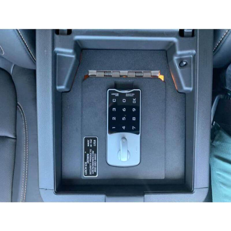Locker Down LD2062EX vehicle console safe for Chevrolet Traverse 2018-2020 viewed from the top with the cover locked.