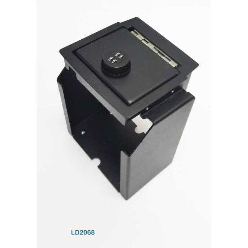 Locker Down LD2068 vehicle console safe for Jeep Wranger 2DR and 4DR 2011-2018 viewed from the top with the handle.