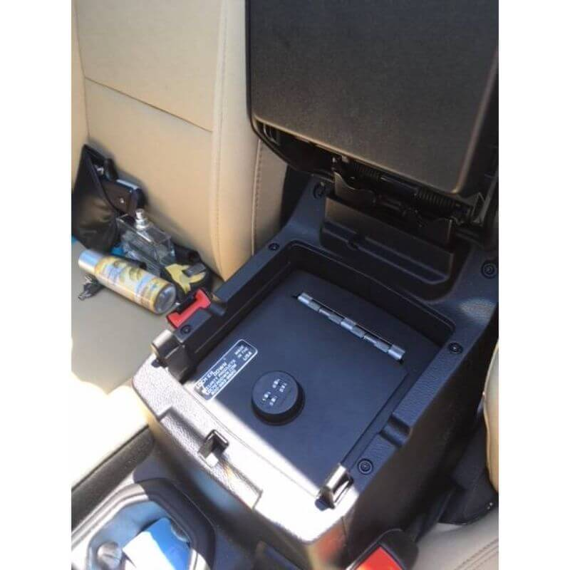 Locker Down LD2070EX vehicle console safe for Jeep Gladiator and Wrangler JL 2018-2020 viewed from the top inside center console.