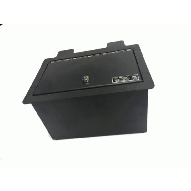 Locker Down LD2072 vehicle console safe for Chevrolet	Silverado and GMC Sierra 2019-2020 viewed from diagonal position.