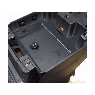 Locker Down LD2072 vehicle console safe for Chevrolet	Silverado and GMC Sierra 2019-2020 viewed from the top cover horizontal.