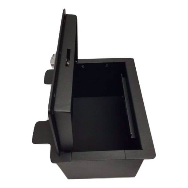 Locker Down LD2072 vehicle console safe for Chevrolet	Silverado and GMC Sierra 2019-2020 viewed from the top open lid.