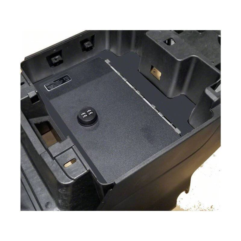 Locker Down LD2072EX vehicle console safe for Chevrolet	Silverado and GMC Sierra 2019-2020 viewed from the top cover.