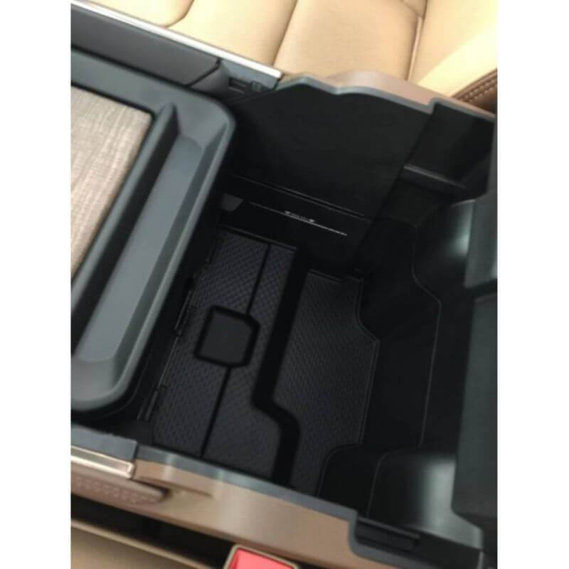 Locker Down LD2078L vehicle console safe for Dodge Ram 1500, 2500, 3500, 4500 2019-2020 viewed from inside center console with cover open.