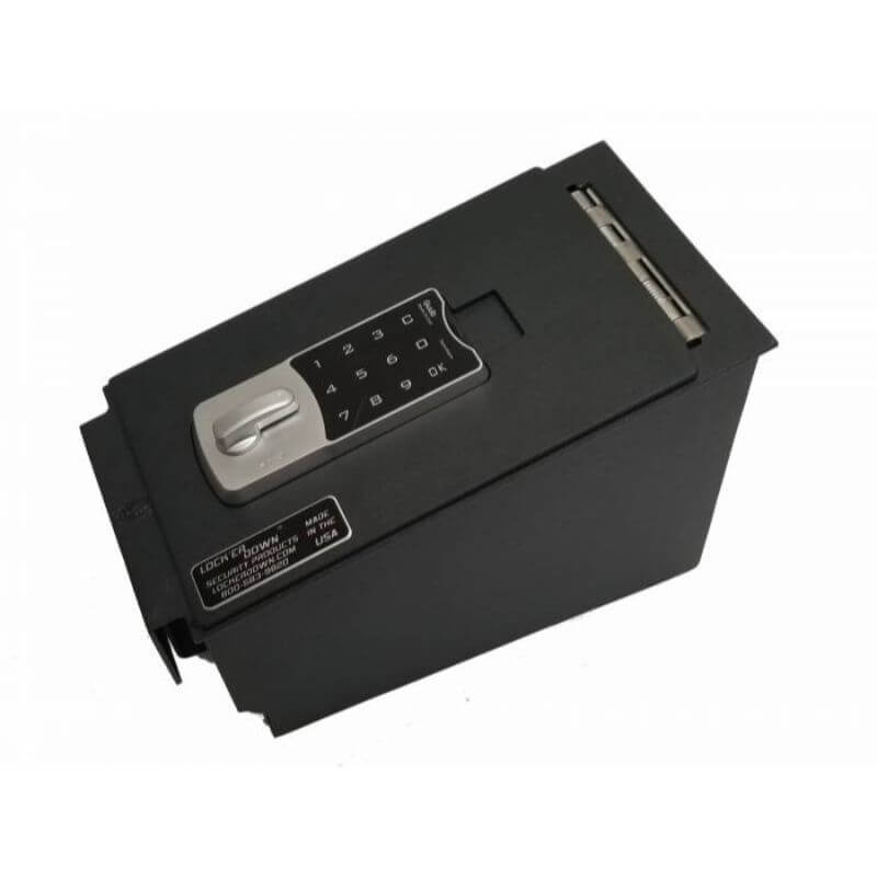 Locker Down LD6022EX vehicle console safe for Nissan Altima 2015-2019 viewed from the top horizontal.