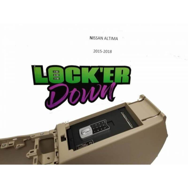 Locker Down LD6022EX vehicle console safe for Nissan Altima 2015-2019 viewed from the side with locker down logo.