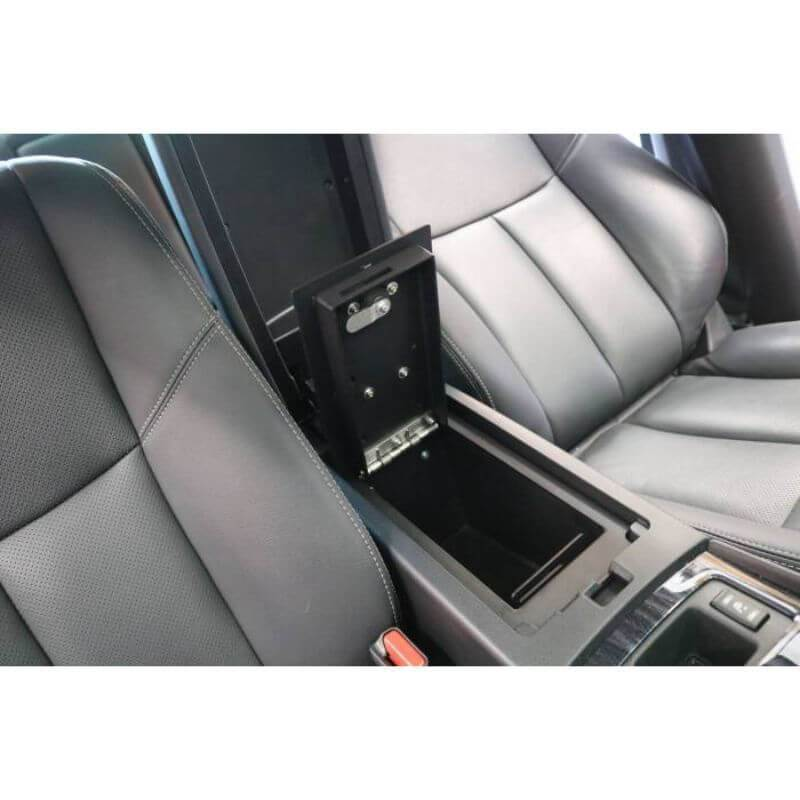 Locker Down LD6022EX vehicle console safe for Nissan Altima 2015-2019 viewed inside center console with open lid.