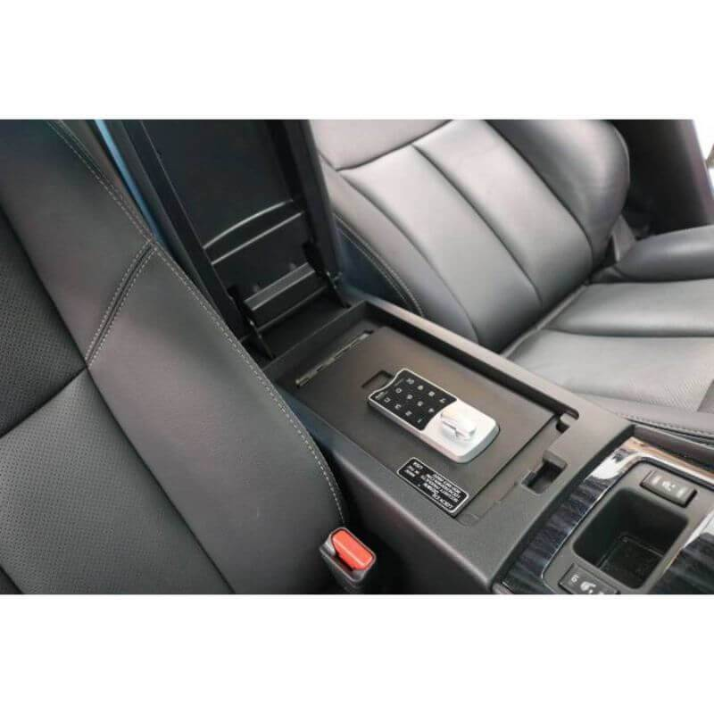 Locker Down LD6022EX vehicle console safe for Nissan Altima 2015-2019 viewed inside center console.