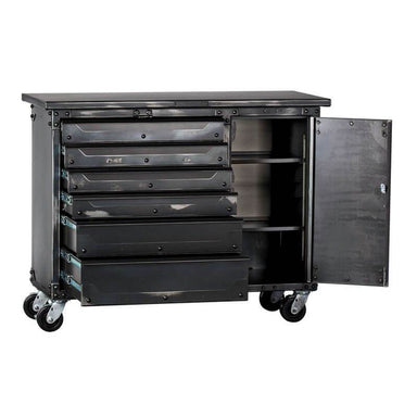 "Ironworks IWTC4355D Tool Chest | 43""H x 55""W x 23""D shown in front view with drawers open with white background."