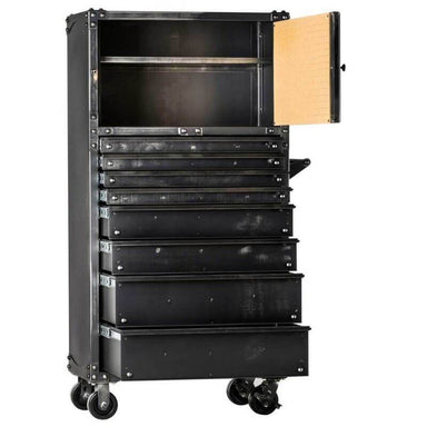 "Ironworks IWTC6534D Tool Chest | 65""H x 34""W x 19""D shown in front view with drawers open with white background."