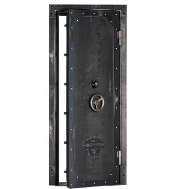 "Rhino Ironworks IWVD8035 Out-Swing Vault Door | 80""H x 35""W x 8.25""D shown in front view with vault door slightly opened with white background."