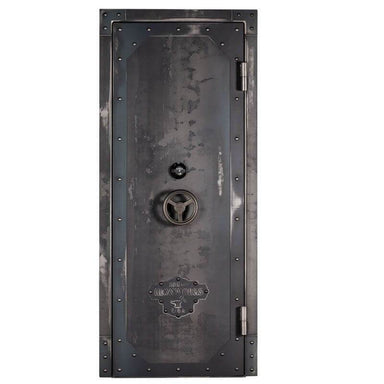 "Rhino Ironworks IWVD8035 Out-Swing Vault Door | 80""H x 35""W x 8.25""D shown in front view with vault door closed with white background."