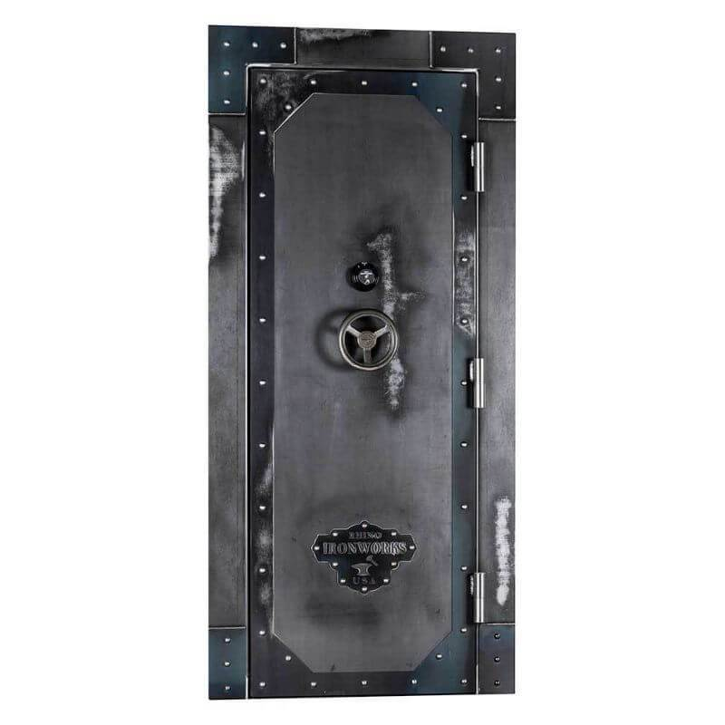 "Rhino Ironworks IWVD8045 Out-Swing Vault Door | 80""H x 45""W x 8.25""D shown in front view with vault door closed with white background."