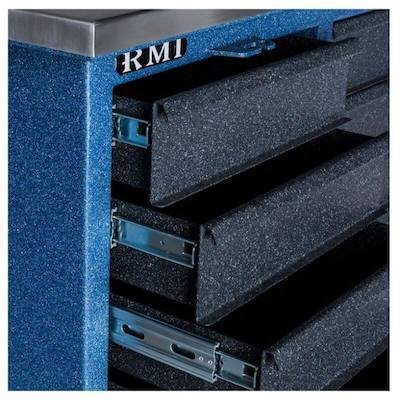 Rhino RMI RTC4372D Tool Chest closeup of drawers with ball-bearing slides