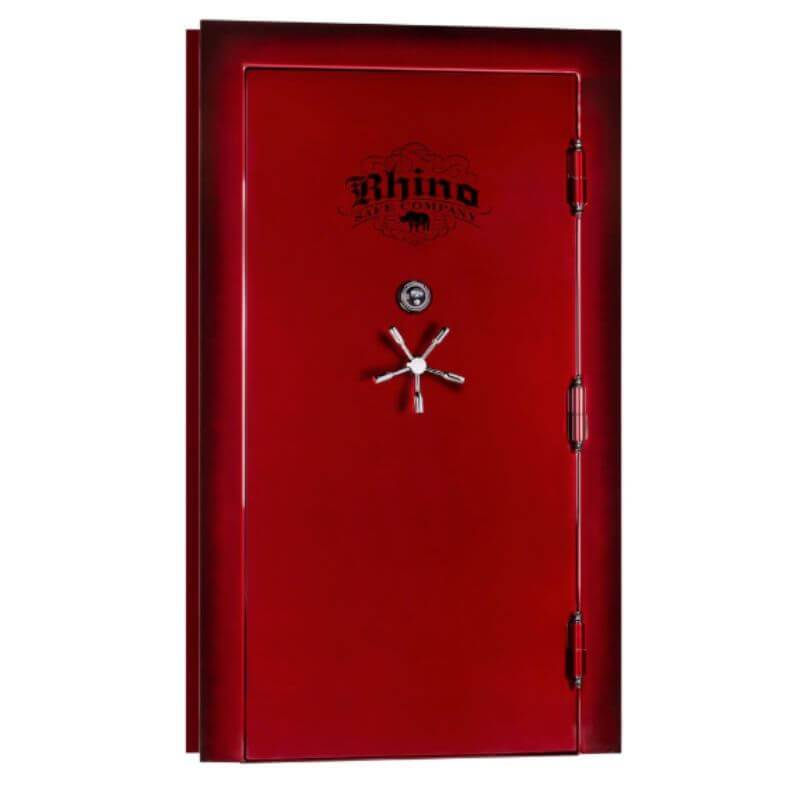 Rhino Ironworks V8035GL Out-Swing Vault Door - 80X35X8.25 color option crimson shown in front view with white background
