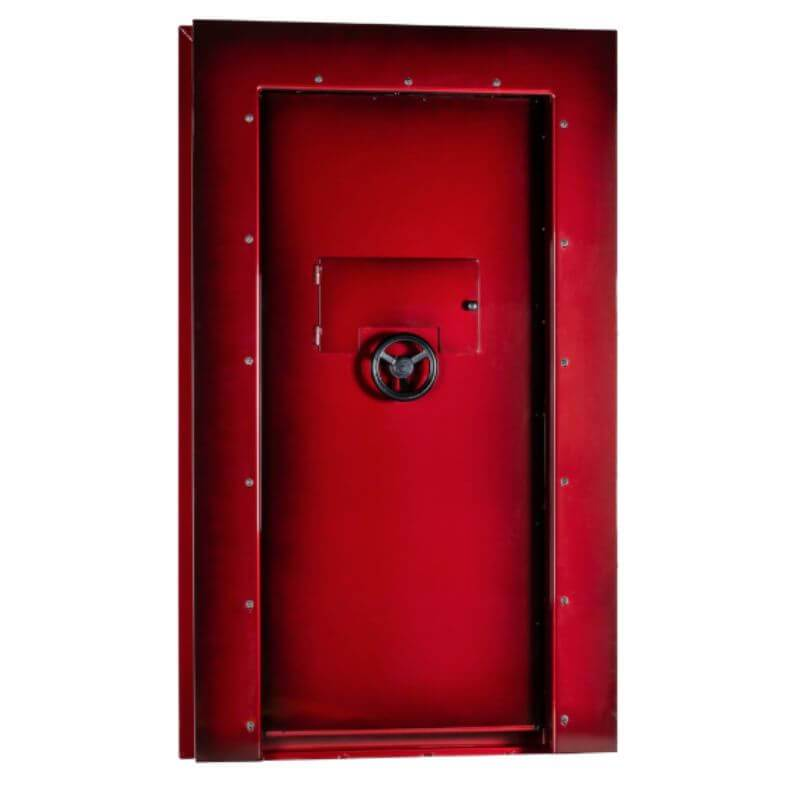 Rhino Ironworks V8035GL Out-Swing Vault Door - 80X35X8.26 color option crimson shown in back view with white background