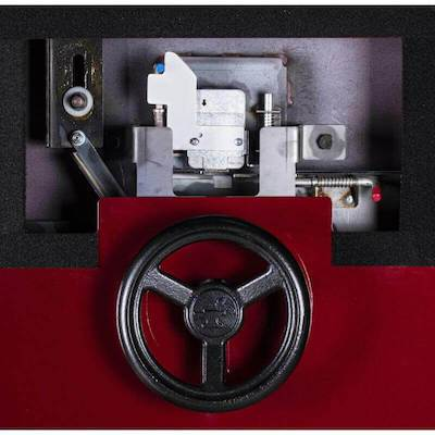 Rhino Ironworks V8240GL In-Swing Vault Door - 82Hx40Wx8D closeup of vault door lock