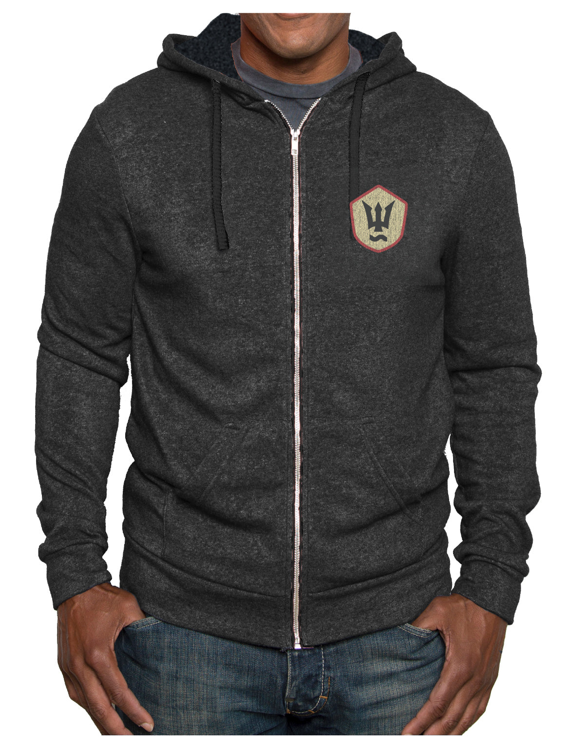 Navy Heather Unisex Zip Hoodie