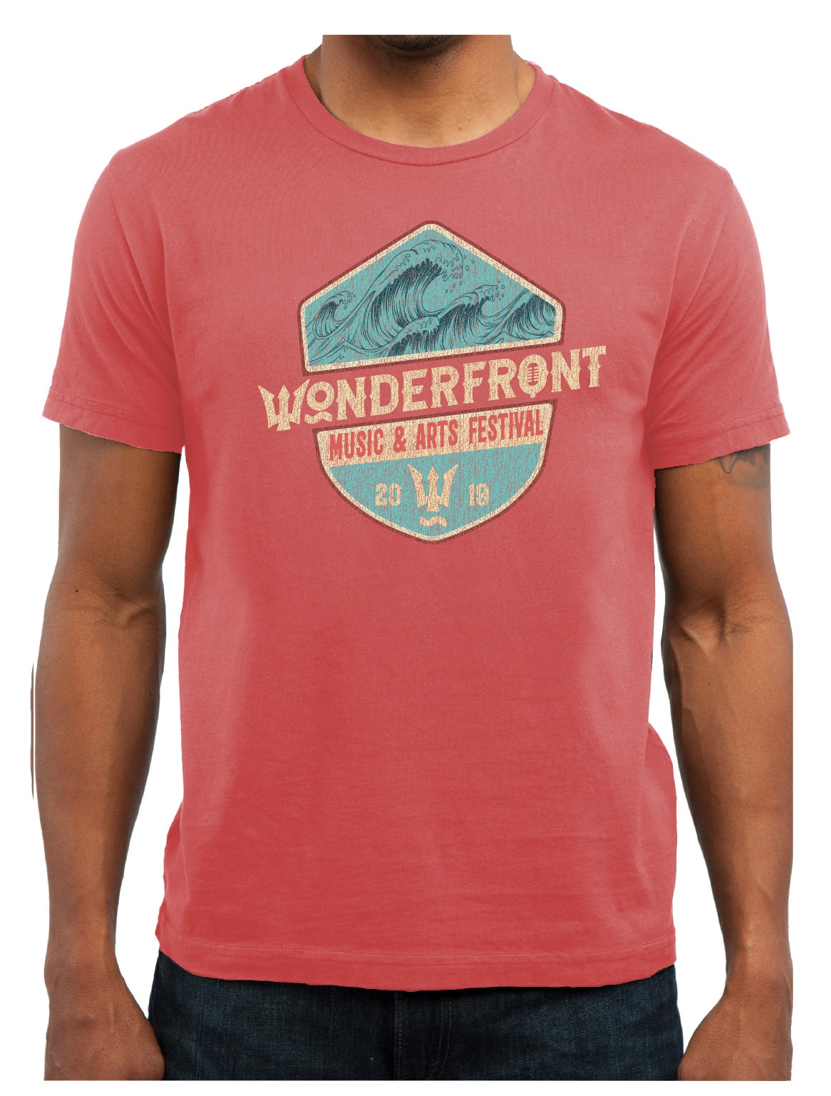 Washed Red Lineup Short Sleeve Crew