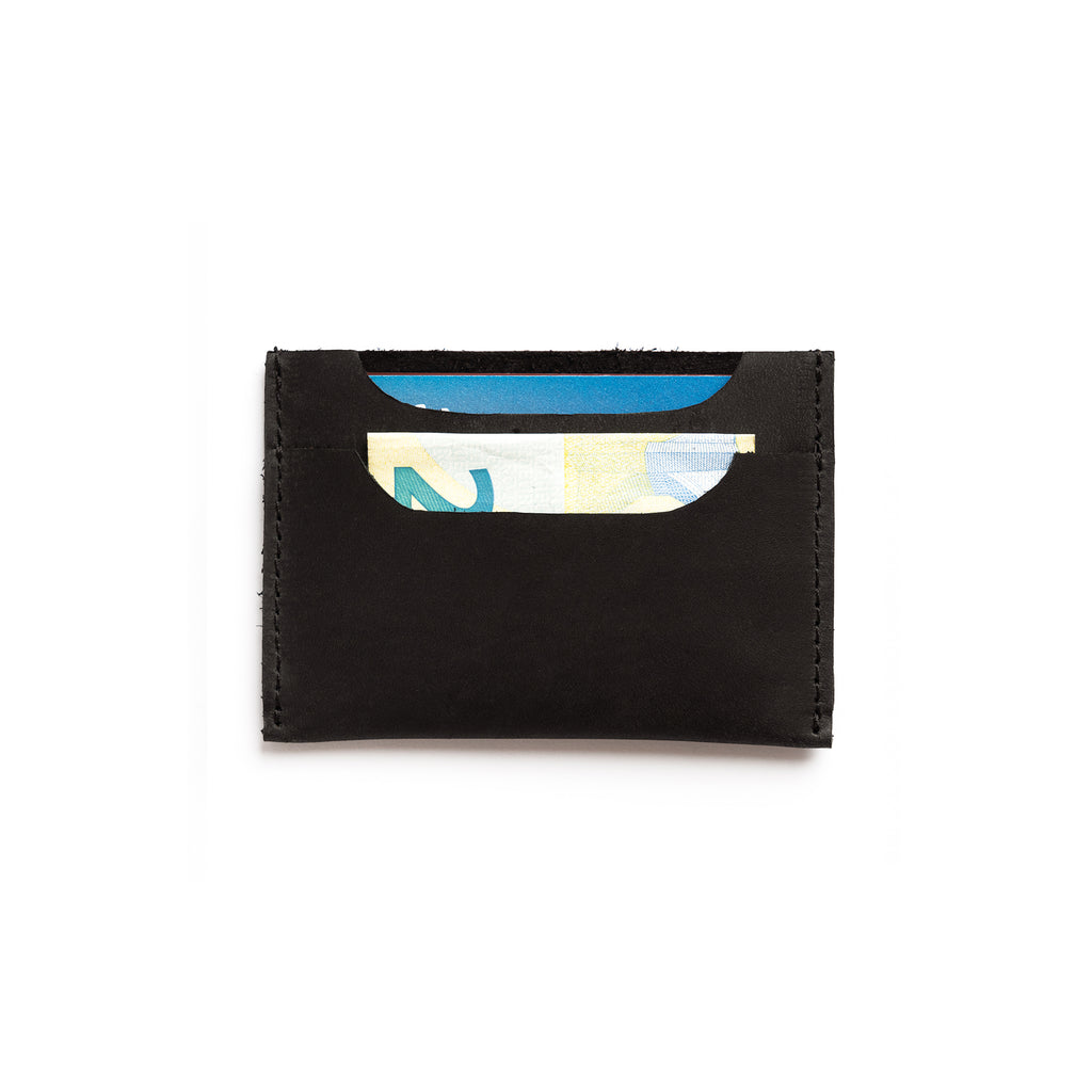 leather black handmade card holder