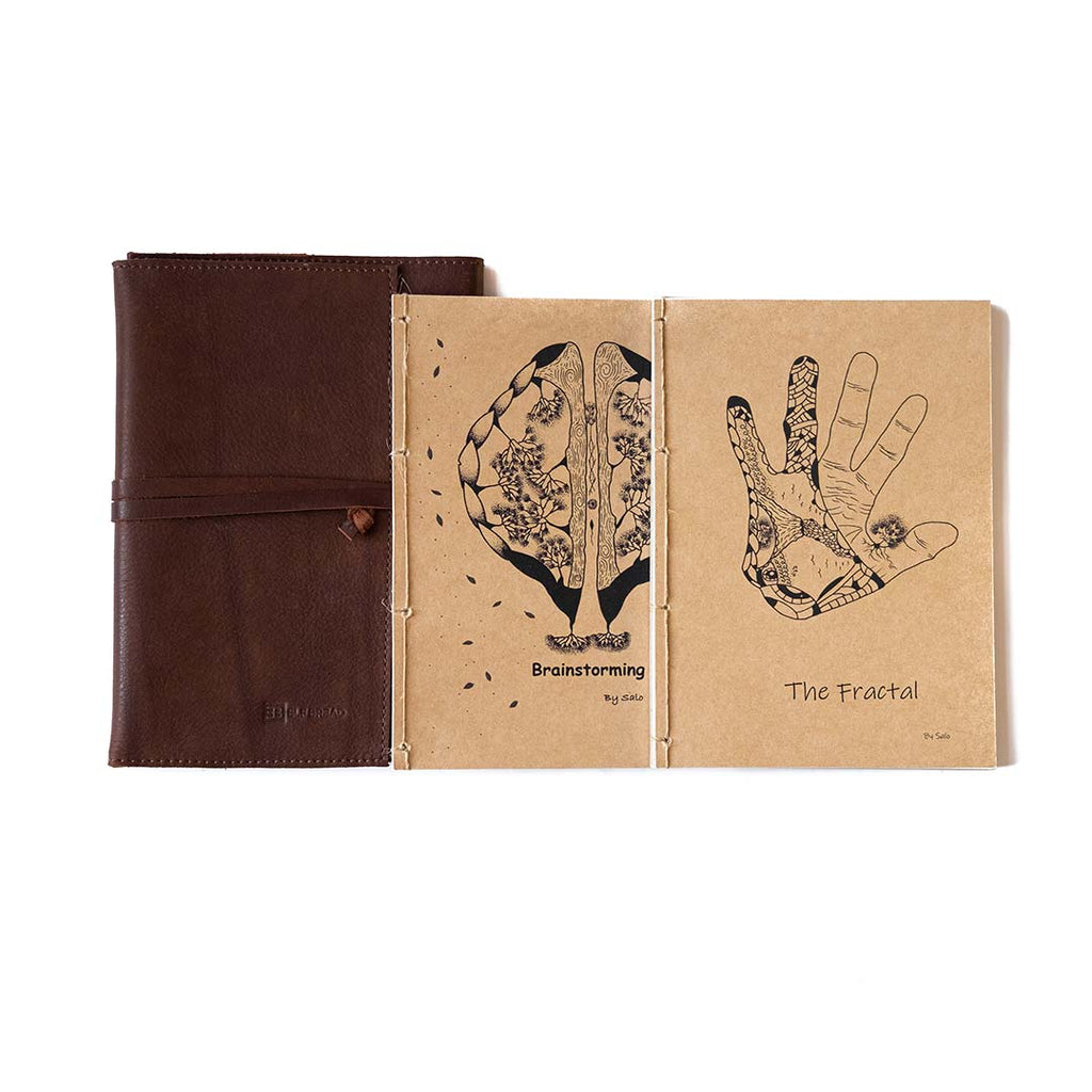 Full set: Notebook, Coloring book and refillable leather cover (A5)