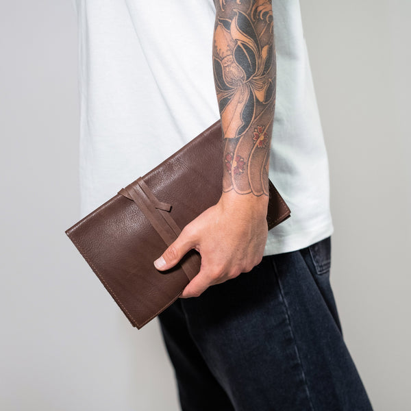 man's leather handmade cosmetic bag