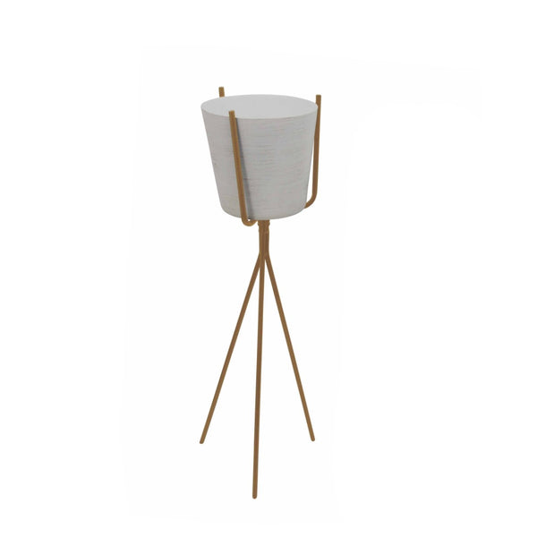 Ivory Metal Planter with Gold Minimalist Stand