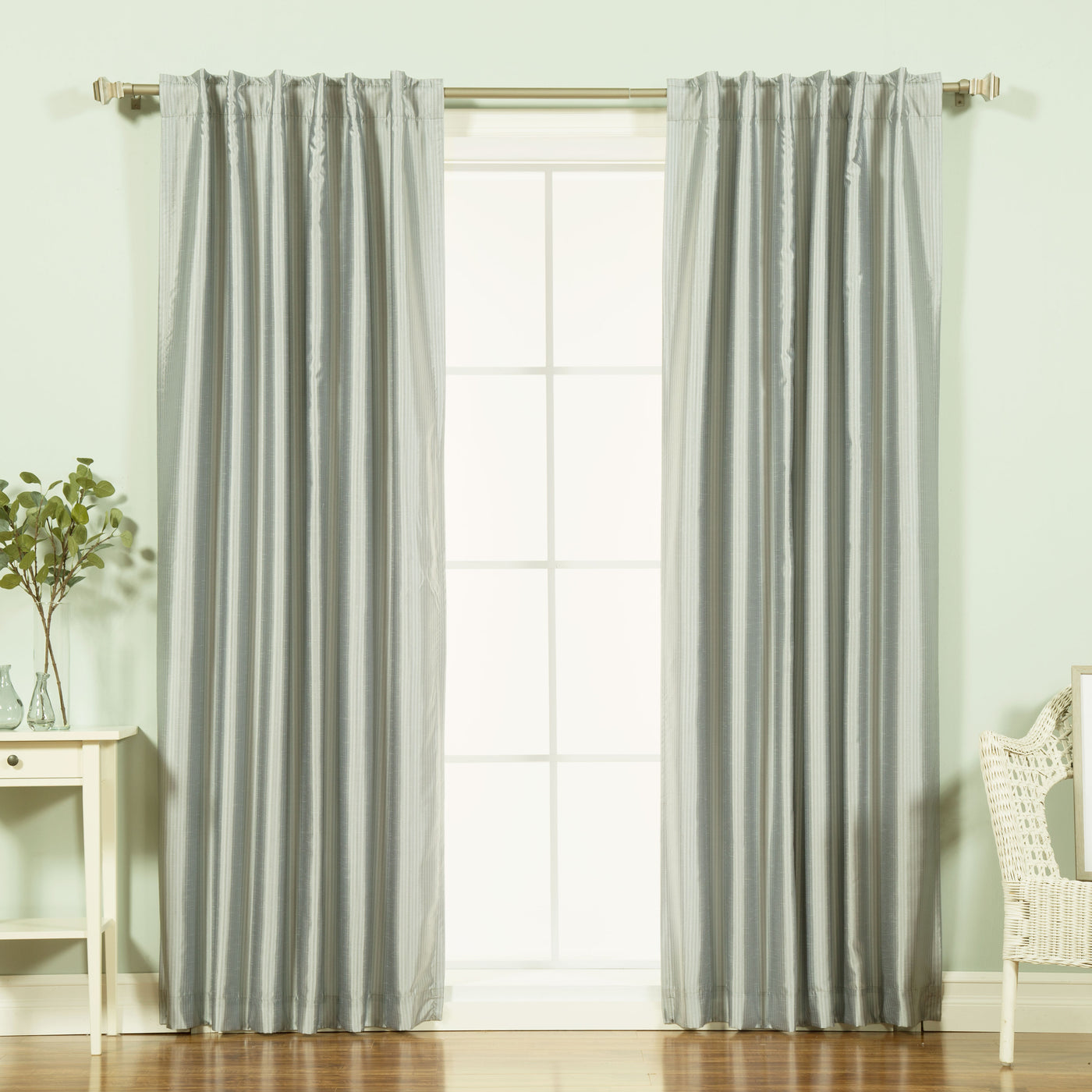 Faux Silk Candy Stripe Blackout Curtains