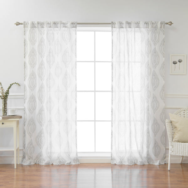 Faux Linen Sheer Medallion Curtains