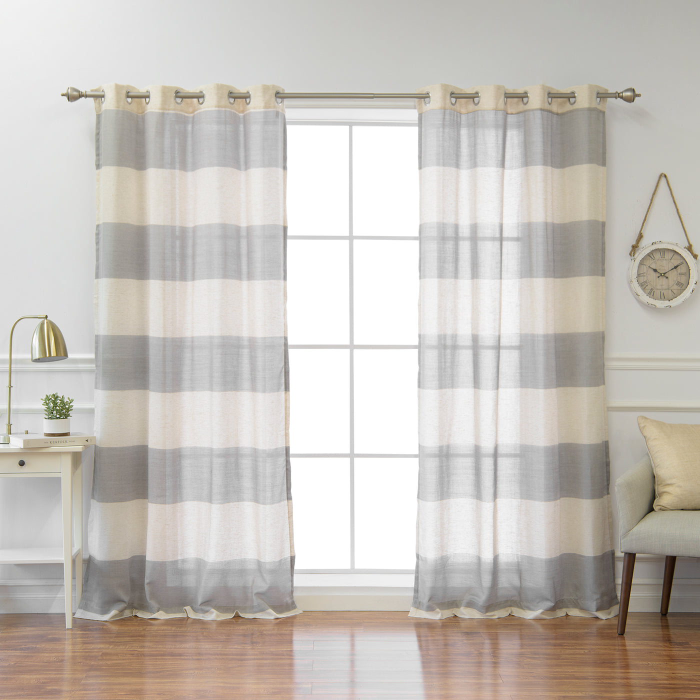 Linen Blend Rugby Stripe Curtains