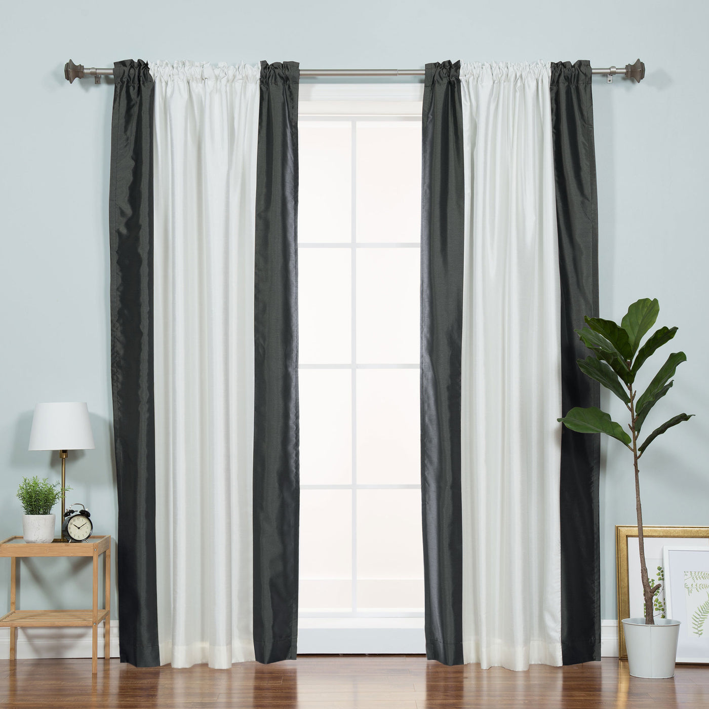 Faux Silk Border Blackout Curtain