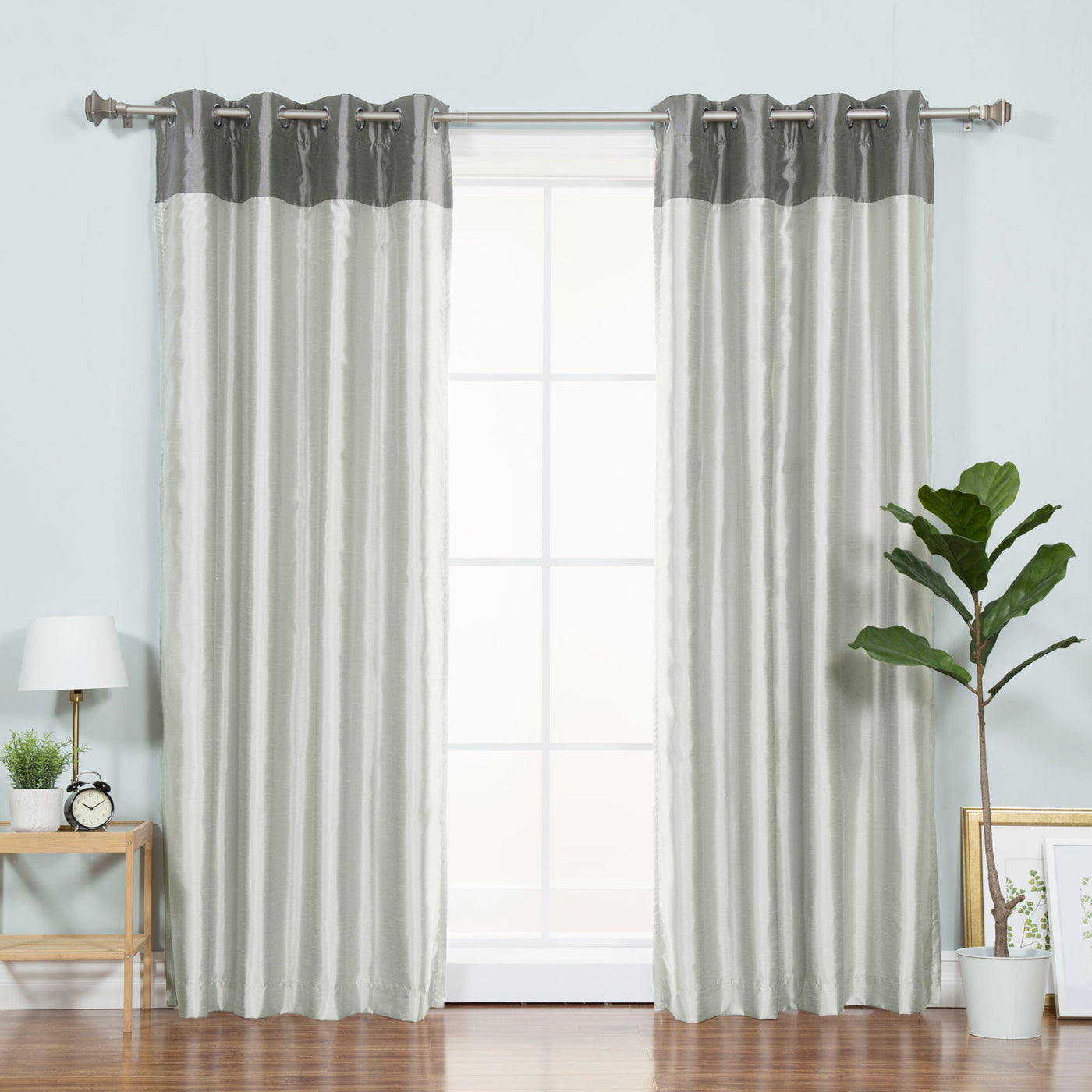 Faux Silk Top Border Blackout Curtain