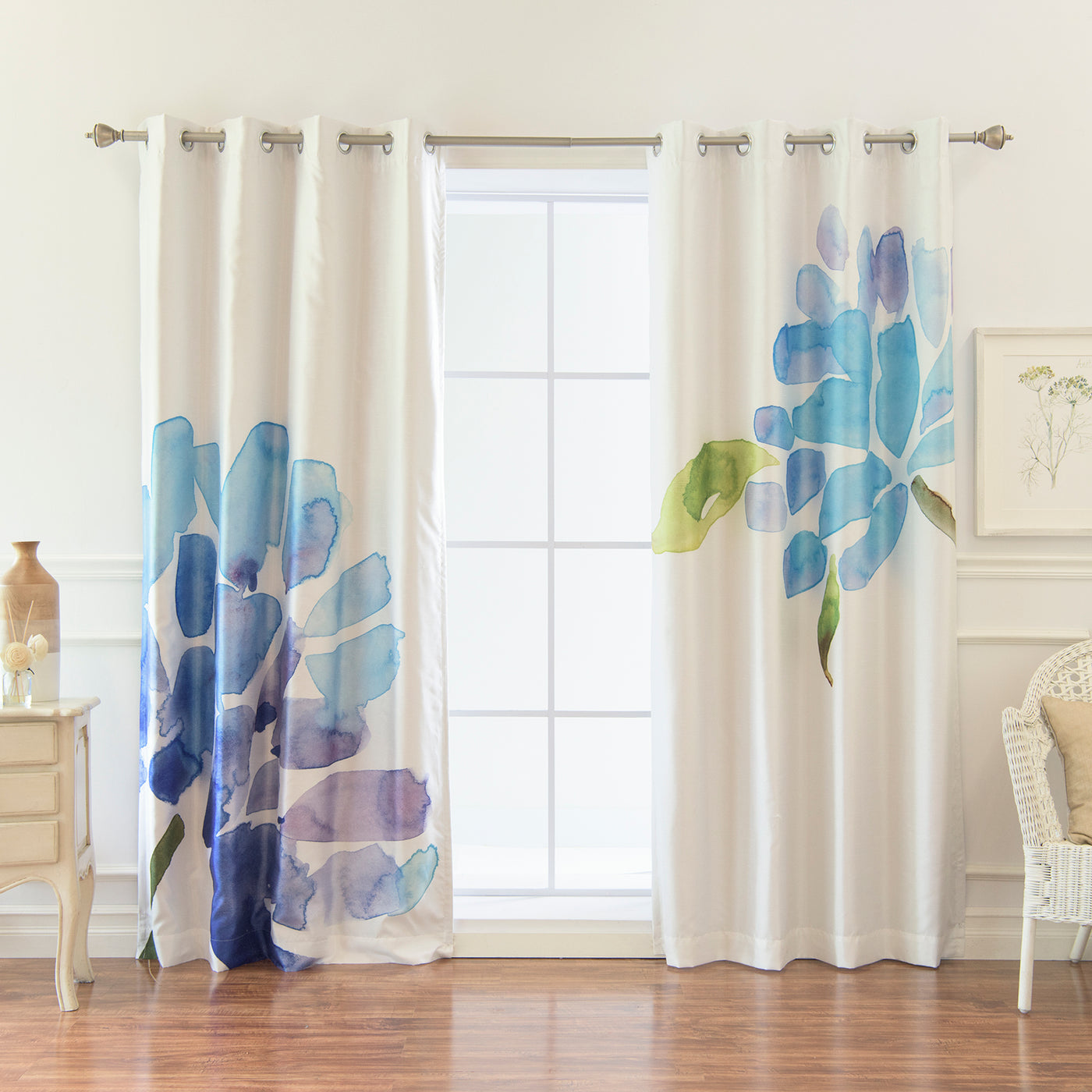 Faux Silk Watercolor Floral Blackout Curtains