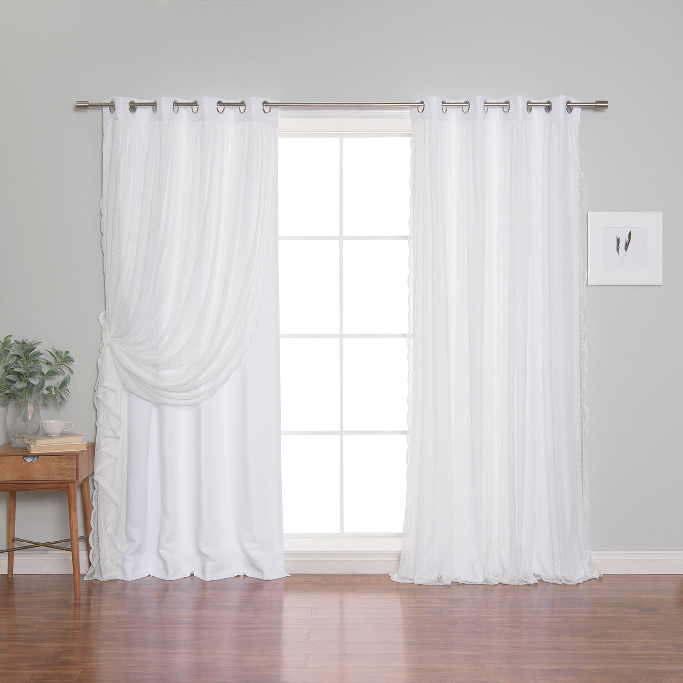 Dotted Lace Overlay Blackout Curtains