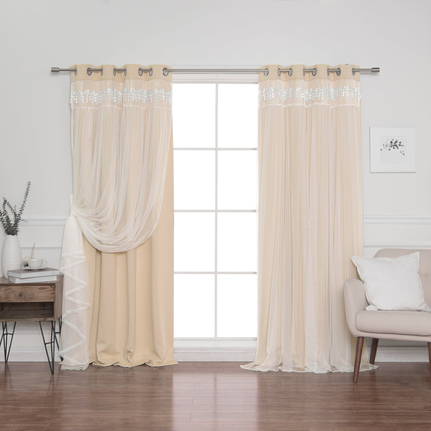 Lace Overlay Blackout Curtains