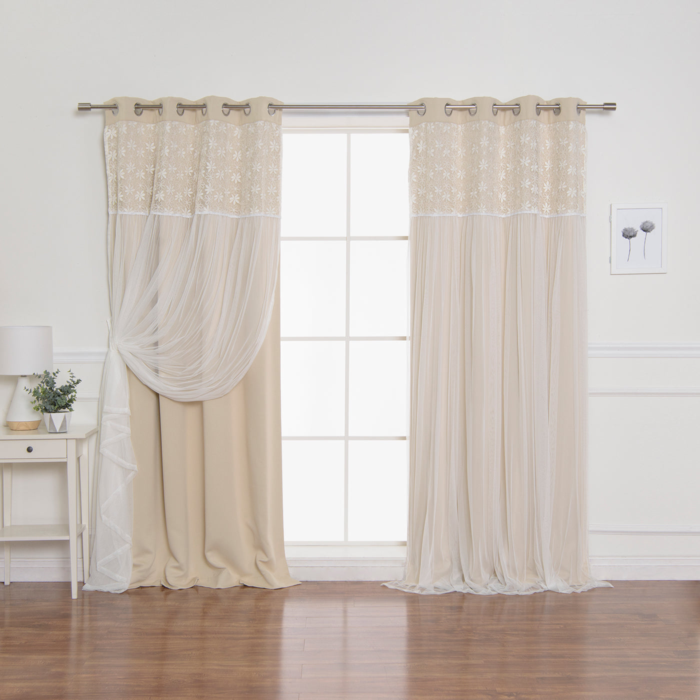 Floral Lace Overlay Blackout Curtains