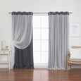 Tulle Overlay Grommet Blackout Curtains
