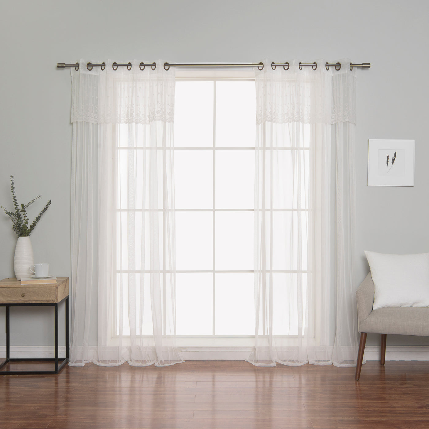 Tulle Lace with Attached Valance Curtains
