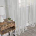 Tulle Lace with Attached Valance Silver Grommet Curtains