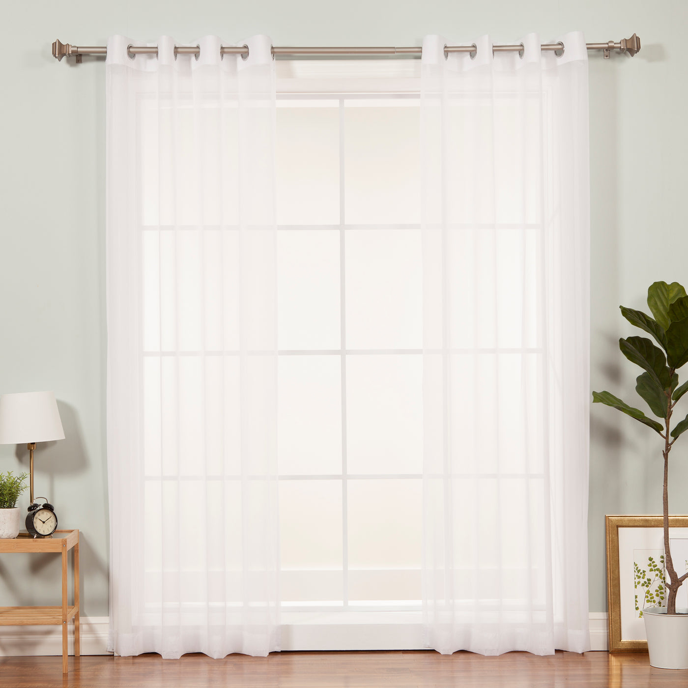 Sheer Voile Silver Grommet Curtains