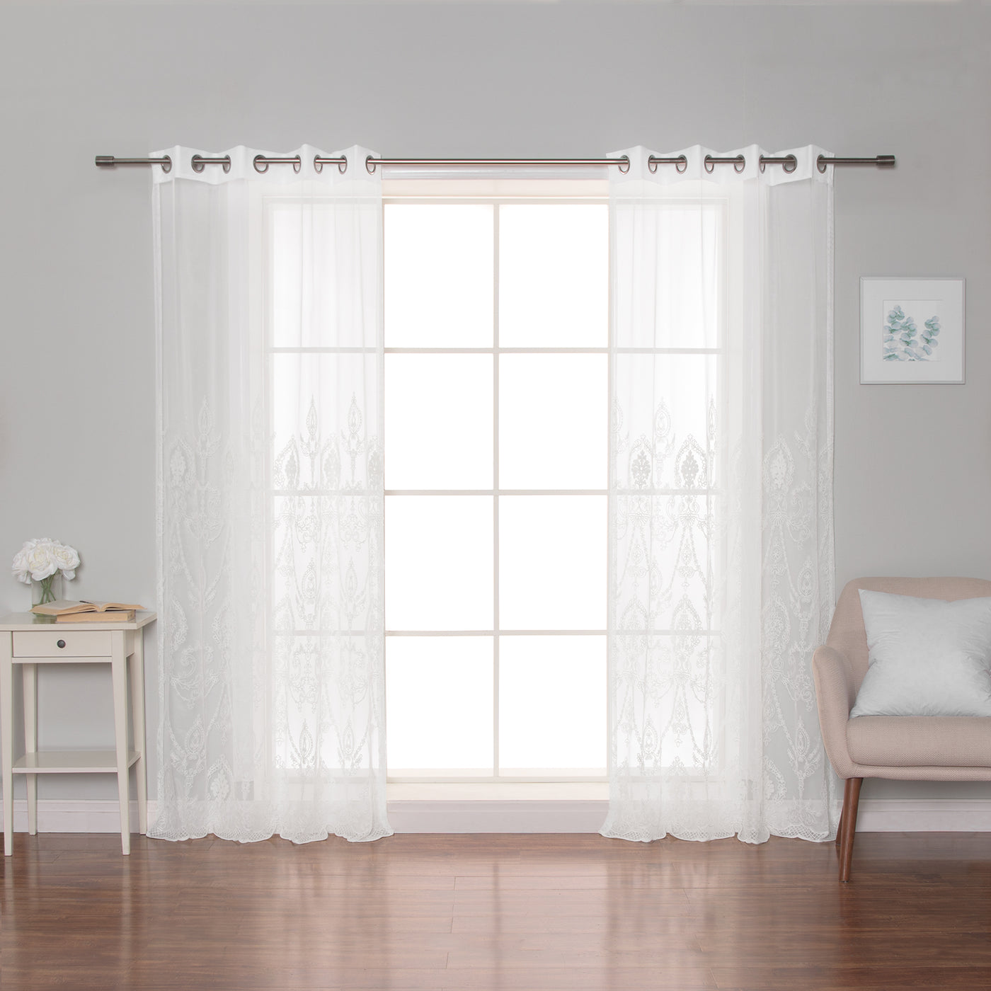 Sheer Trellis Grommet Curtains