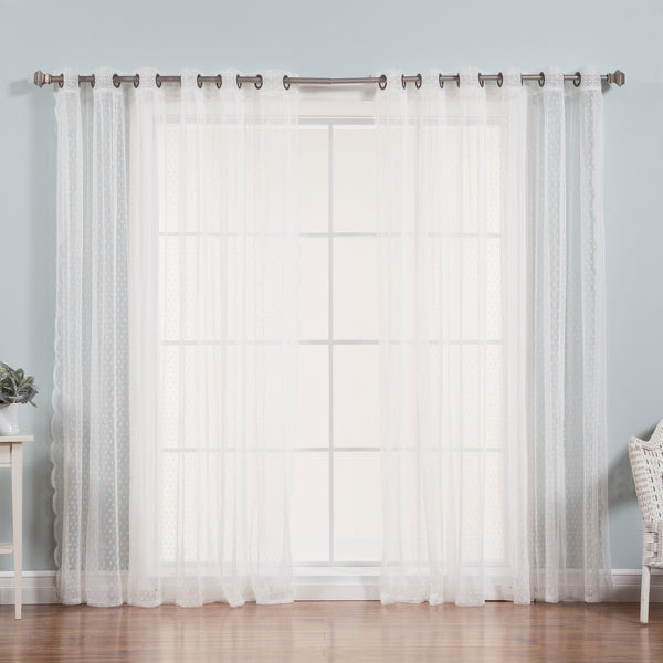 Sheer Lace Dot Wide Curtain