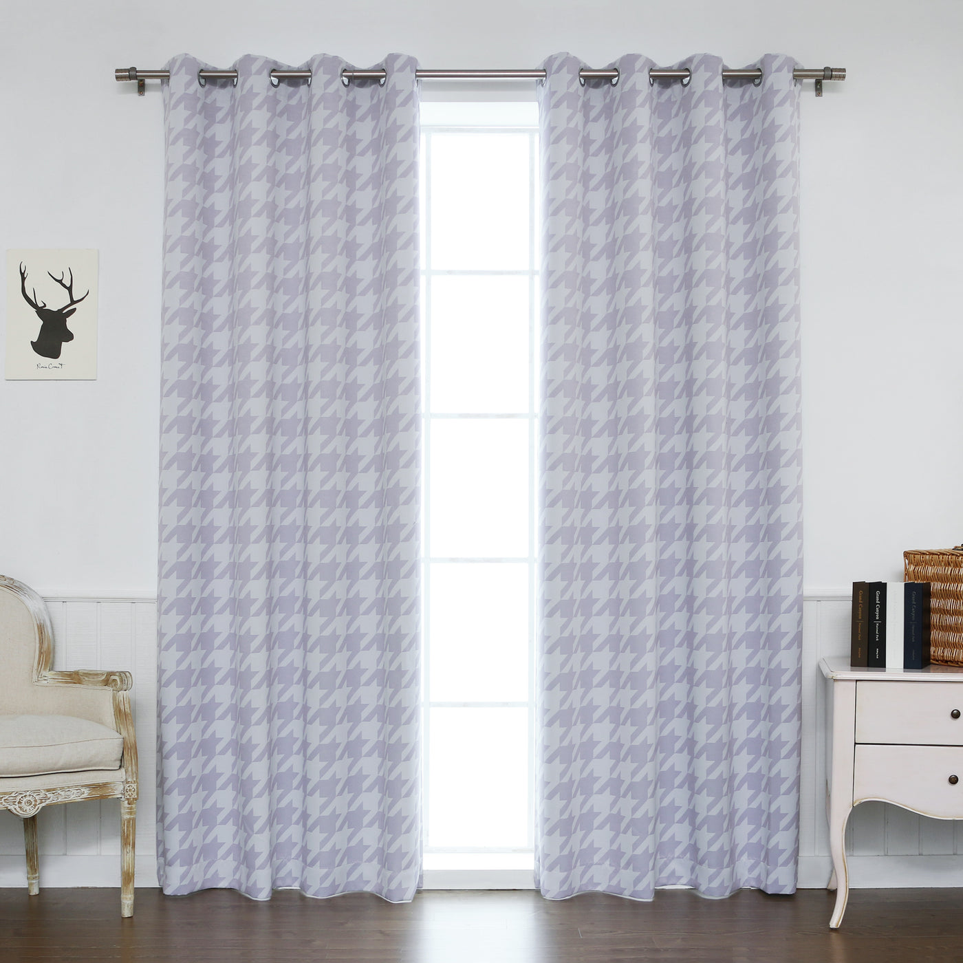 Large Houndstooth Room Darkening Curtains