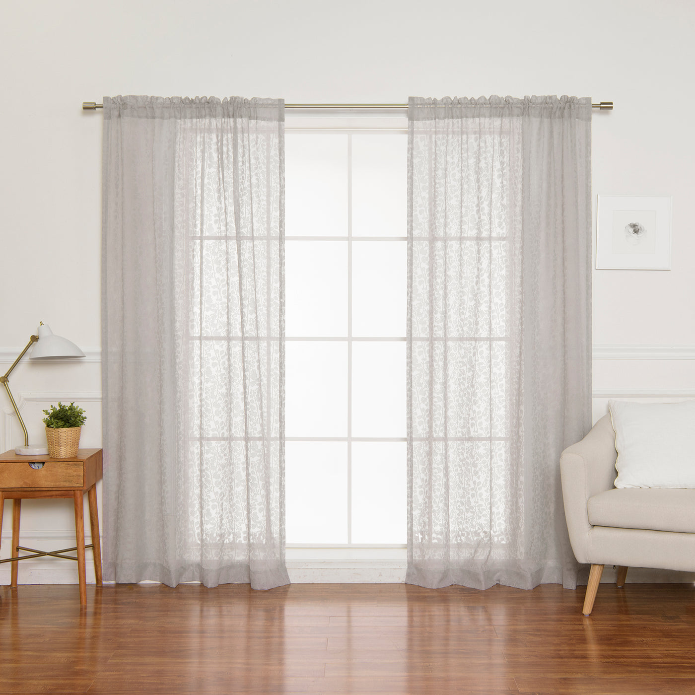 Sheer Burnout Branch Curtains